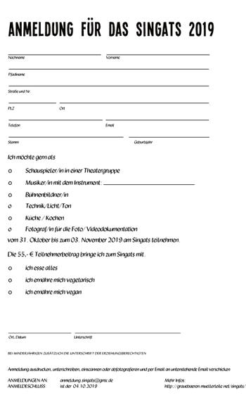 Anmeldung zum Singats 2019. Gibt es auch auf www.singats.de
